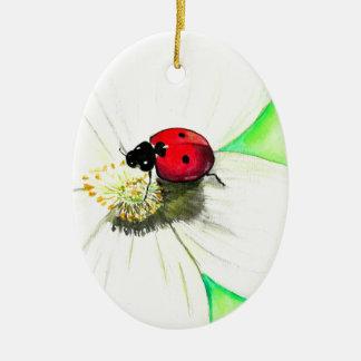 Ladybug on White Flower Ceramic Ornament