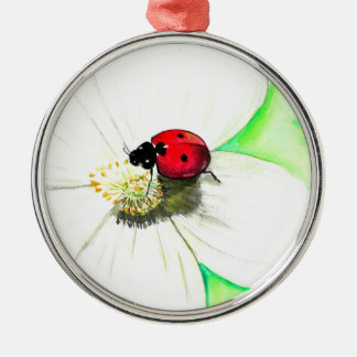 Ladybug on White Flower Silver-Colored Round Ornament
