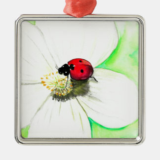 Ladybug on White Flower Silver-Colored Square Ornament