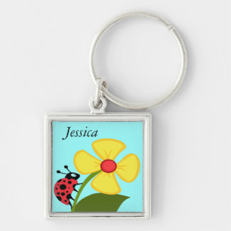 Ladybug on Yellow Flower Silver-Colored Square Keychain