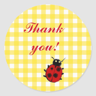 Ladybug on Yellow Gingham Cute Thank you Round Sticker