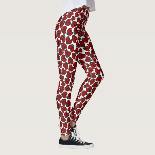 Ladybug Parade on White Leggings