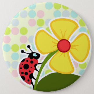 Ladybug Pastel Colors, Polka Dot 6 Inch Round Button