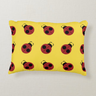 Ladybug Pattern on Yellow Graphic Accent Pillow