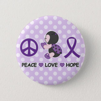 Ladybug Peace Love Hope Purple Awareness Ribbon 2 Inch Round Button