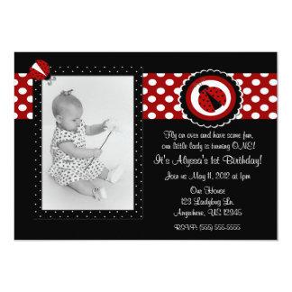 "Ladybug Photo Birthday Inviation 5"" X 7"" Invitation Card"