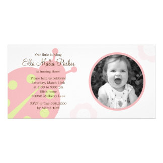 Ladybug Photo Birthday Invitation