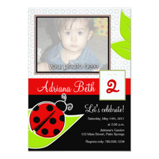 Ladybug Photo Invitations