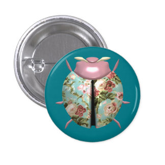 Ladybug - Pink Flowers / Light Blue Background 1 Inch Round Button