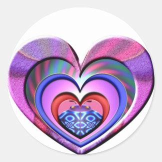 LadyBug Pink Heart Round Sticker