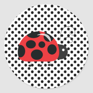 Ladybug Polkadots Baby Shower Bingo Stickers