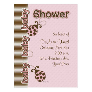 Ladybug Postcard Baby Shower in Pink
