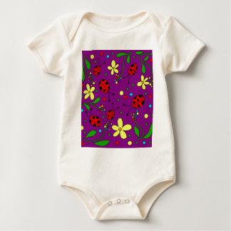Ladybug - purple baby bodysuit