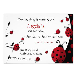 Ladybug Red Black First Birthday Invitation
