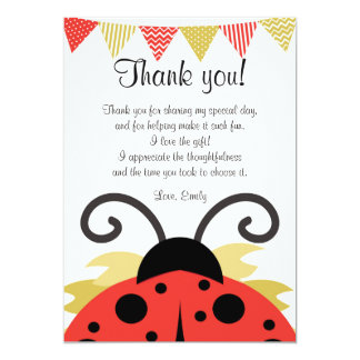Ladybug Red Gold Thank You Card Note