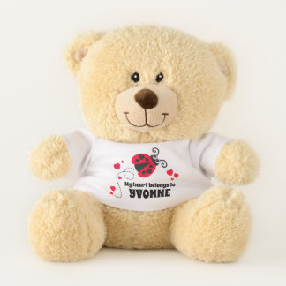 Ladybug red my heart belongs name personalized teddy bear