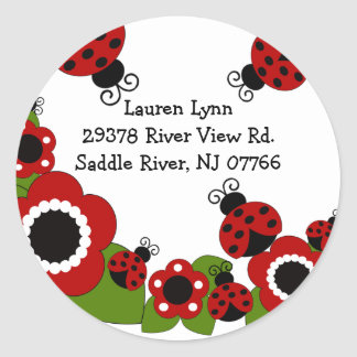 Ladybug Return Address Birthday Sticker