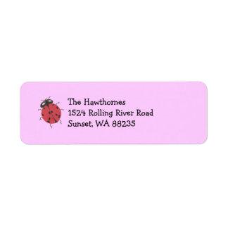 Ladybug return address label -- pink