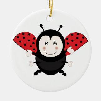 Ladybug Round Ceramic Ornament