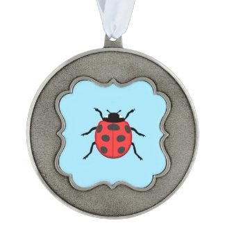 Ladybug Scalloped Pewter Ornament