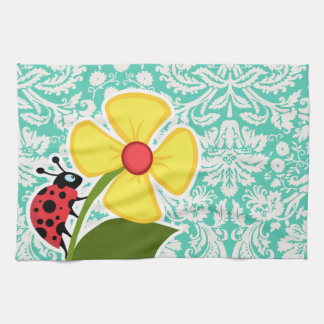 Ladybug; Seafoam Green Damask Kitchen Towel