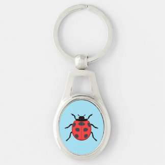 Ladybug Silver-Colored Oval Keychain