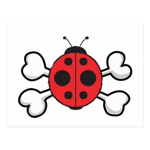 ladybug Skull and Crossbones Post Cards