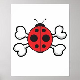 ladybug Skull and Crossbones Print