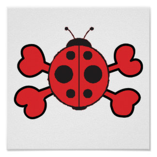 ladybug Skull red Crossbones Poster