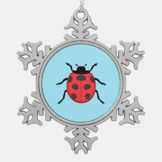 Ladybug Snowflake Pewter Christmas Ornament