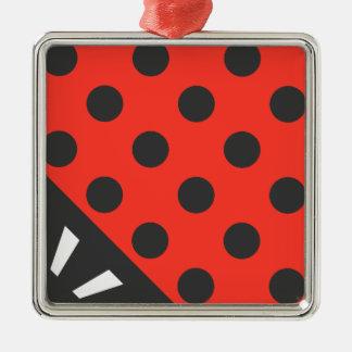 Ladybug Square Black and Red Silver-Colored Square Ornament