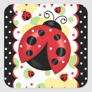 Ladybug Square Glossy Stickers