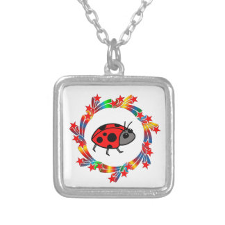 Ladybug Stars Silver Plated Necklace