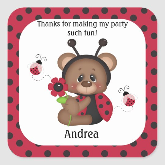 Ladybug Teddy Bear Birthday Thank You Square Sticker