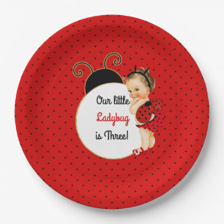 Ladybug Theme Baby Girl Red & Black 9 Inch Paper Plate