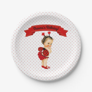 Ladybug Theme Baby Girl Red Dots 7 Inch Paper Plate