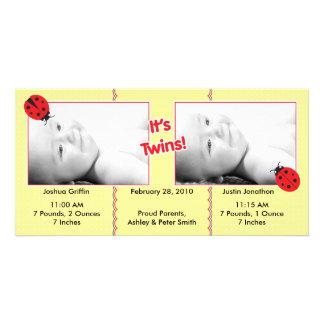 Ladybug Twins Birth Announcement Photo Greeting Card