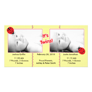 Ladybug Twins Birth Announcement Custom Photo Card