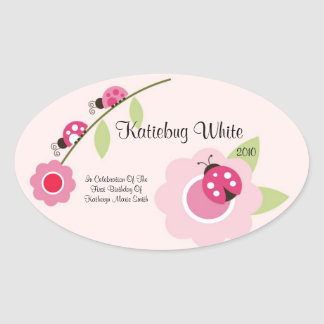 Ladybug Wine Label Oval Sticker