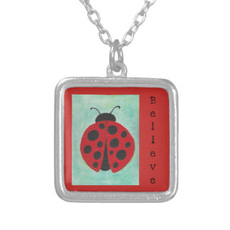 Ladybug with Believe Silver Plated Necklace