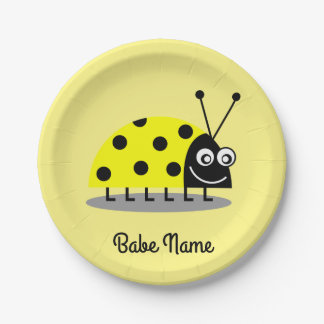 Ladybug Yellow 7 Inch Paper Plate