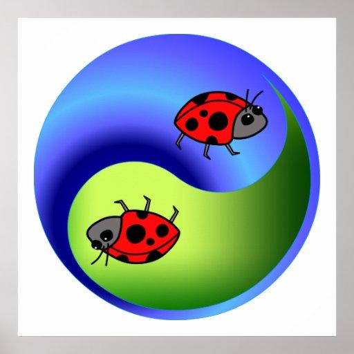 Ladybug Yin Yang Poster
