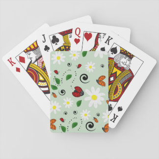 Ladybugs and Daisies in Green Playing Cards