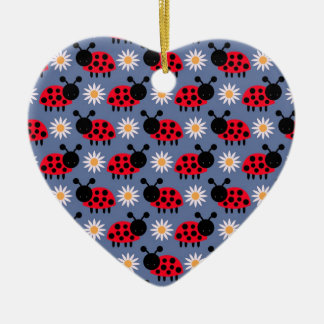 Ladybugs and Daisies Pattern Ceramic Ornament
