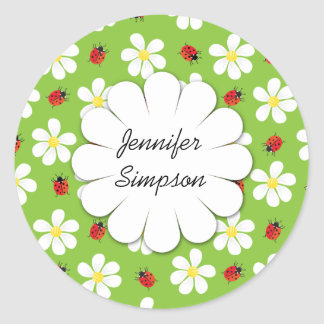 Ladybugs and Daisies Personalized Sticker