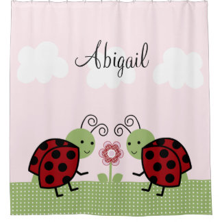 Ladybugs and Flower Girls Kid's Shower Curtain