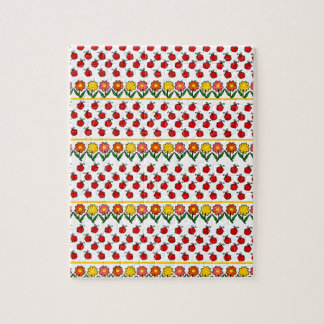Ladybugs and flowers pattern jigsaw puzzle