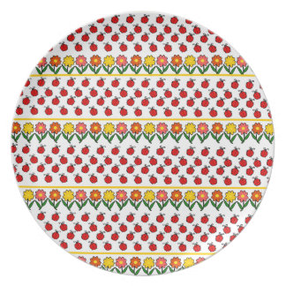 Ladybugs and flowers pattern plate