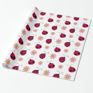 Ladybugs and Flowers Wrapping Paper