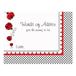 Ladybugs and Polka Dots Mommy Advice Card Postcard